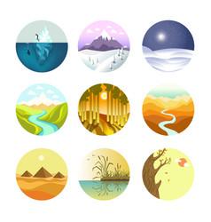 landscape round logotypes set on white vector image