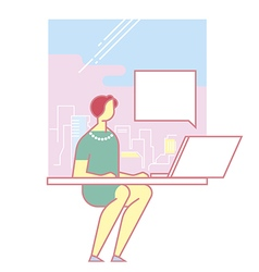 manager working at a computer vector image vector image