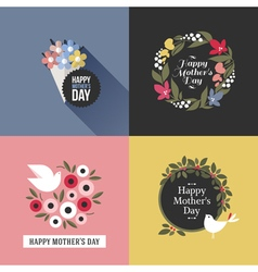 Mothers day card with pretty birds and floral deco vector