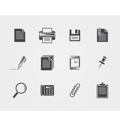 Office iconsBlack icons vector image