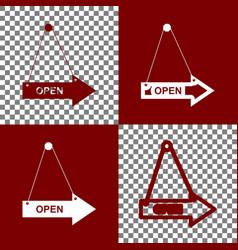 Open sign bordo and white vector
