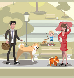 People with dogs design concept vector