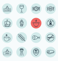 set of 16 eating icons includes fried poultry vector image