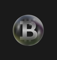 soap bubble with bitcoin sign vector image vector image