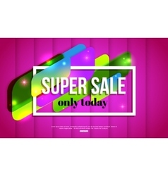 Super sale shining banner on pink background vector
