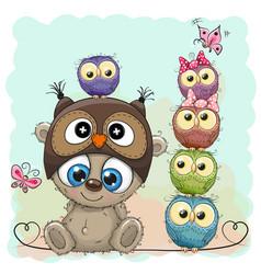 Teddy bear and five owls vector