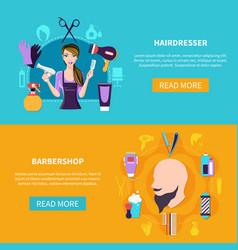 two hairdresser banner set vector image vector image
