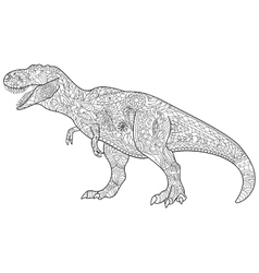 Tyrannosaur Coloring for adults vector image vector image
