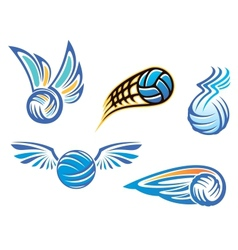 Volleyball symbols and emblems vector