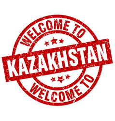Welcome to kazakhstan red stamp vector