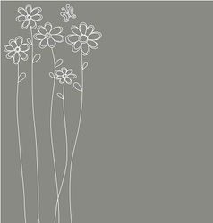 white flowers hand drawn vector image