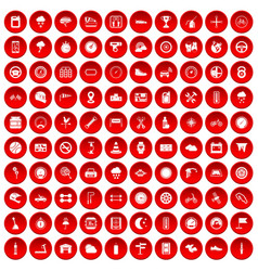 100 motorsport icons set red vector