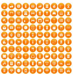 100 smart house icons set orange vector