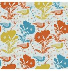 Birds and flowers Seamless background vector image