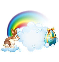 A rabbit and an egg near the rainbow vector image