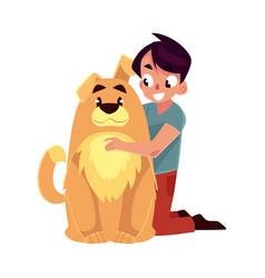 Little boy child kid with big fluffy brown dog vector