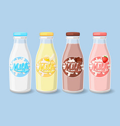 labels on milk bottles vector image