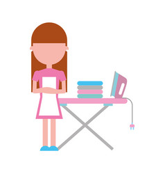 Housewife with ironing board vector