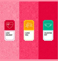 Line valentine patterns set vector