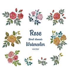 Watercolor set with roses branches for deco vector