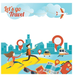 Couple run to city travel vector