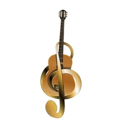 Acoustic guitar belted treble clef vector