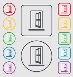 Door enter or exit icon sign symbols on the round vector