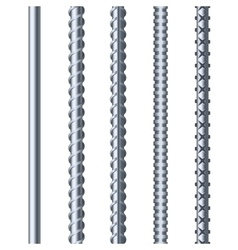 Sreel rebars set on white background metal vector