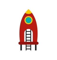 Red rocket with stairs on a playground icon vector
