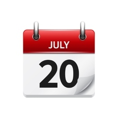 July 20 flat daily calendar icon date vector