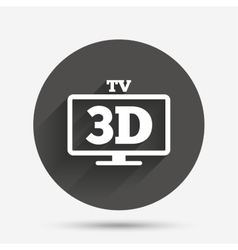 3d tv sign icon 3d television set symbol vector