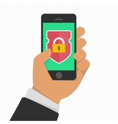 Mobile security app on smartphone screen vector