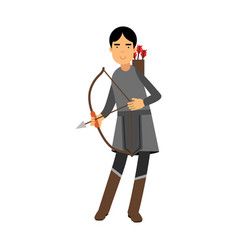 archer in medieval outfit colorful character vector image vector image