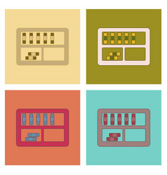 Assembly flat icons folder shelf vector