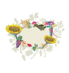 Autumn hand-drawn frame with flowers vector image vector image
