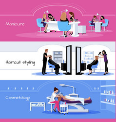 Beauty salon service horizontal banners vector