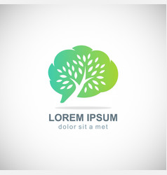 cloud green tree botani logo vector image