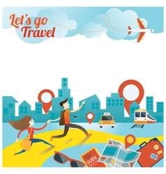 Couple run to city travel vector