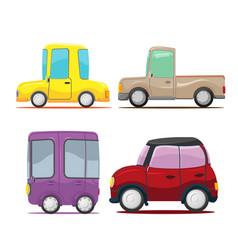 Cute cars cartoon collection set vector