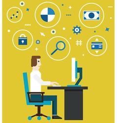 E-marketing and e-commerce process vector image vector image