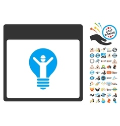 Electrician calendar page flat icon with vector