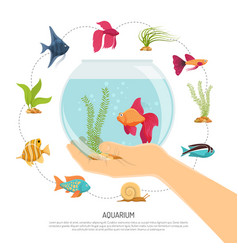 Fish bowl hand composition vector