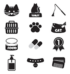 Flat Design Cat Black Icon Set vector image vector image