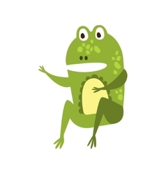 Frog sitting like man speaking flat cartoon green vector