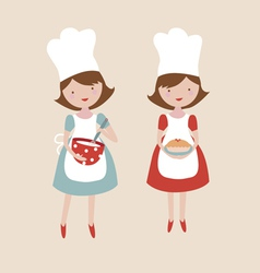 Girl cook characters vector