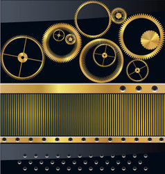 Gold gear background vector image