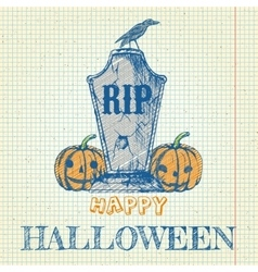 Halloween doodle with pumpkins and tombstone vector