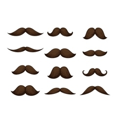 Hand drawn mustache set isolated on white vector image vector image