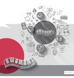 Hand drawn piano icons with icons background vector image