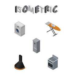 isometric appliance set of stove cloth iron vector image vector image